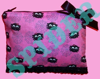 Itsy Bitsy Spider Pink Make up bag Pencil Zipper Pouch Cosmetic Bag Cotton Spiders Spider Web