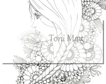 Amy – Digital Download Coloring Page, Adult Coloring, Relaxing, Digi Stamp, Printable, PDF file.