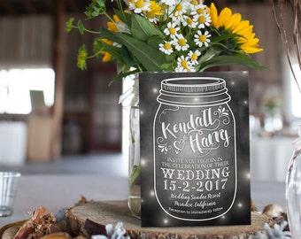 Digital Printable Files - Chalkboard Little Fireflies & the Mason Jar Wedding Invitation RSVP Thank You - ID424