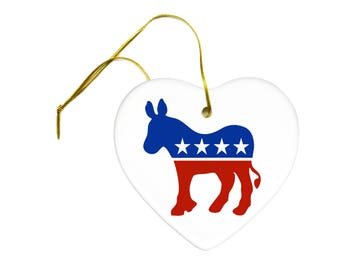Political Democratic Donkey on a Ceramic Hanging Heart Ornament