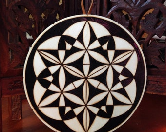 "6.5"" Sacred Geometry Art - Pyrography Art, Spiritual Wall Art, Wood Mandala, Sacred Geometry Art, Bohemian Wall Art, Mandala Wall Art"