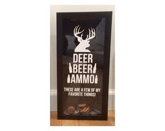 "Deer, Beer, Ammo - A Few of My Favorite Things! - Bottle Cap Holder - Black Shadow Box (6"" x 14"") - Vinyl Decal Gifts, Home Bar Accessories"