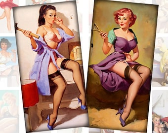 Pinup girls digital collage sheet domino tile pedant size 1x2 inches rectangles  Vol. 1 (071) Buy 3 - get 1 free
