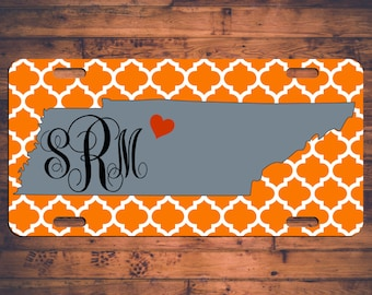 Tennessee Monogram License Plate TN Custom Car Tag Monogrammed VOLS Customized Personalized Gift Customize your own!