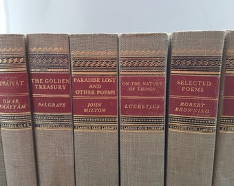 Vintage Classic Book Set/ Set of Seven Vintage Books/ Classic Club Editions/ 1940's/ The Iliad/ On the Nature of Things