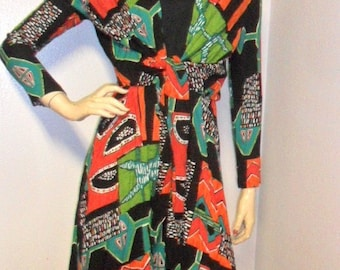 Vtg Artsy Colorful Dress Tie front Sz Small