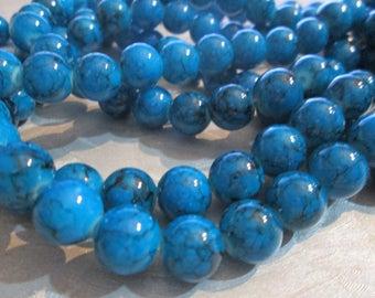 10 blue glass beads with zebra stripes Black 10 mm