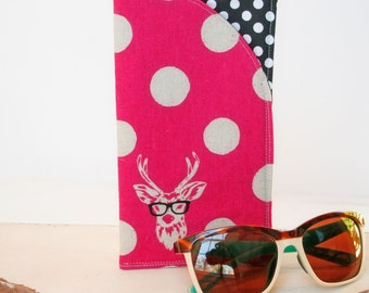 Deer with Glasses, Sunglass Case Glass Sleeve Monogrammed Cases for Over sized glasses Funky Sunglass case Polka Dots Sunglass sleeves