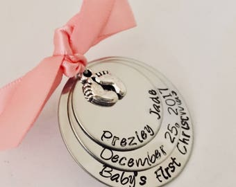 Personalized baby's first Christmas ornament first Christmas baby new baby shower birth announcement custom birth date baby stats gift