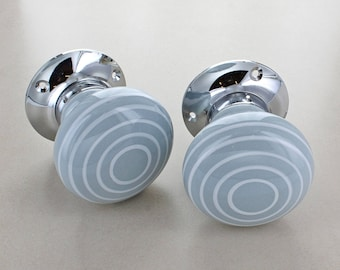 White Striped On Grey Mortice Door Knobs Set for Room Doors 1515-GY