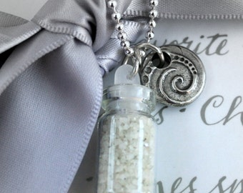 Glass vial with sand and sea inspired charm necklace - Ocean Surf