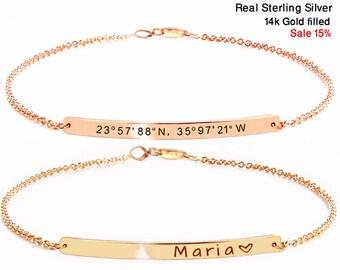Personalized bracelet for women, Birthday day gift, Coordinate bracelet, Bracelet bar, Wedding gift, Bridesmaid gift, Engraved bracelet.