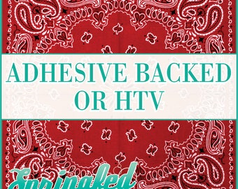 Red Bandanna Pattern Adhesive Vinyl or HTV Heat Transfer Vinyl for Shirts Crafts and More!