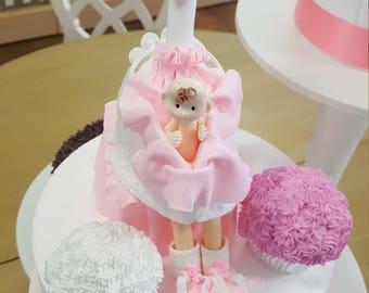 Pink Stork Baby Shower Cake Topper Keepsake/Cold Porcelian Pink Stork Baby Girl Cake Topper/Baby Girl with Stork Cake Topper/Centerpeice