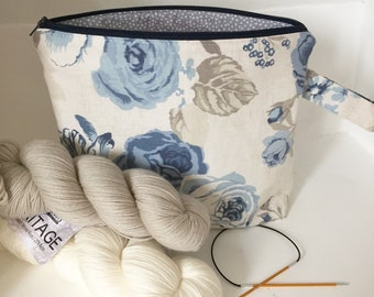 Knitting project bag / make up / crochet project bag / sock knitting project bag blue grey floral rose