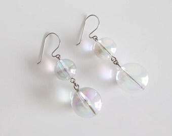 VINTAGE Earrings Clear Bubble Dangle Long Pierced