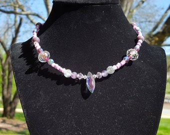 Lavender purple & Crystal handmade beaded necklace