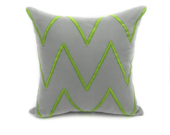 Chevron Decorative Pillow Cover, Modern Geometric Couch Pillow, Gray Linen Green Chevron Embroidery, Contemporary Accent Pillow, Toss Pillow
