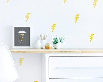 Lightning Bolt Wall Decal Yellow Baby Nursery Wall Decal Kids Wall Decal Modern Nursery Wall Decal. Lightning Bolt Children Wall Decal