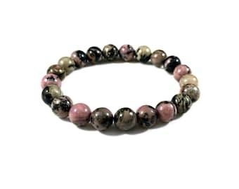 Rhodonite  Bracelet - Handmade Bracelet for Women - Beaded Stretch Bracelet - Handmade Jewelry