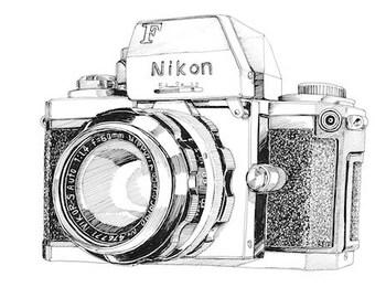 A3 Art Print - Vintage Nikon Camera
