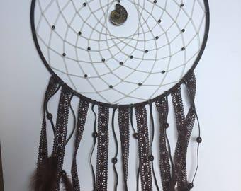 Brown lacy ammonite dream catcher