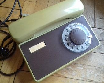 Vintage Rotary Telephone  TESLA STROPKOV model TA 32 made in Czechoslovakia in 80's