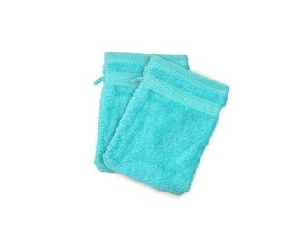 Cotton washcloth sponge turquoise blue
