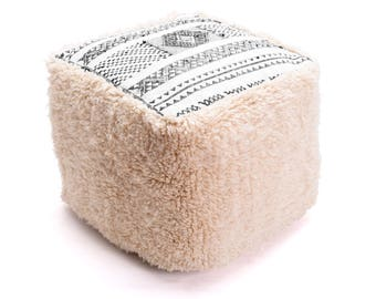 Moroccan Pouf, Floor Cushion, Beni Ourain Pouf Ottoman, Floor Pillow, Foot Stool, Refashioned from a Moroccan Berber Rug. PVM039