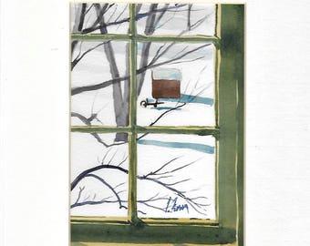 Thru A Shaker Window, Shaker Village, Pleasant Hill, Kentucky, Original Watercolor