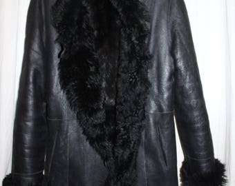 Coat Sam Rone 40/42 Made Tuscan lamb fur black leather Sheepskin Shearling seam Loose Overside in France mixed new com