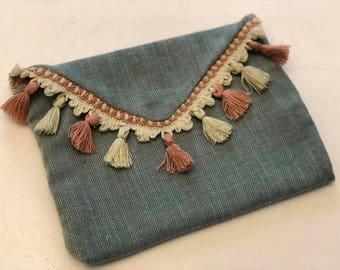 Blue/Pink pouch with tassels