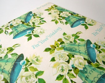 Vintage 1970's Wedding Wrapping Paper Blue Bells Floral Gift Wrap