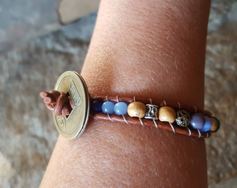 SOCO Leather Wrap Bracelet with Brass Coin and Lovely Beads