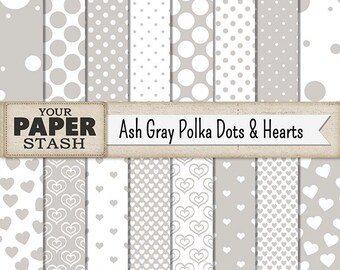 Polka Dot Digital Paper, Polka Dot, Heart, Ash Gray, Gray, Silver, Digital Paper Pack, Scrapbooking Paper, Wedding, Men's, Commercial Use