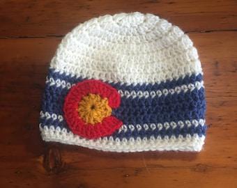 Colorado Flag hat beanie reverse unisex denim blue off white red gold