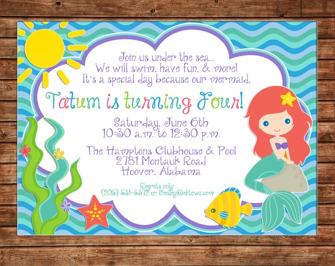 Girl Invitation Mermaid Princess Under Sea Pool Birthday Party - Can personalize colors /wording - Printable File or Printed Cards
