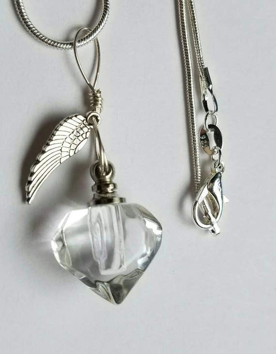 Fill yourself cremation ash urn crystal heart with angel wing fill yourself cremation ash urn crystal heart with angel wing cremation ash vial necklace pet cremation solutioingenieria Image collections