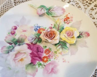 Lovely 3-D Floral Occupied Japan Display Plate