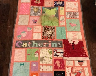 MEMORY QUILT | Baby Clothes Quilt | First Year Clothes Quilt | Keepsake Quilt | Custom Made-to-Order (Random Blocks)