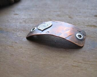 open heart -  bracelet plaque in warm copper