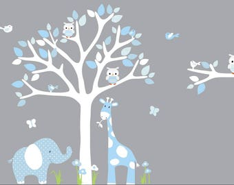 Jungle Decals, Jungle Wall Decals, Nursery Wall Decal, Giraffe, Elephant, Baby Blue Hues, White Tree, Friendship Falls wall decal