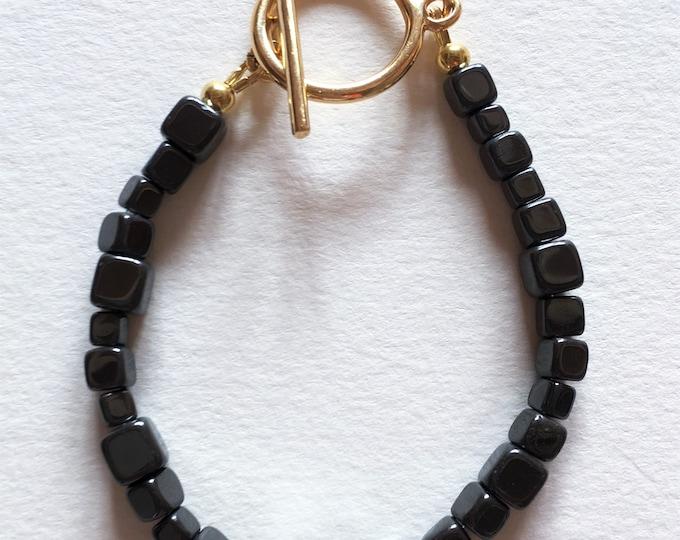 Hematite bracelet, Golden bracelet and hematite gemstones beads