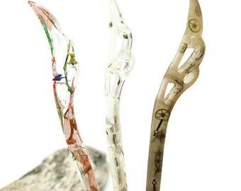 Steampunk, dried leaf, natural dandelion resin hair pin
