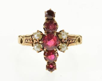 8k Ruby* Pearl Accent Victorian Statement Ring Gold