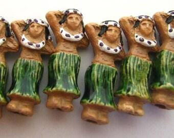 4 Tiny Hula Girl Beads - CB723