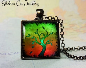 """Tree of Life Necklace - Green and Orange - 1"""" Square Pendant or Key Ring - Handmade Wearable Photo Art Jewelry"""