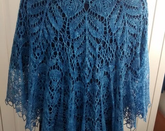 Hand knitted intricate lace pure silk shawl-weddings-evening wear-occasion wear-beaded lace-gift for her-Silk Sapphire Blue