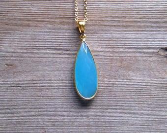 Aqua Chalcedony Necklace, Gold Bezel Set Aqua Stone Pendant, Chalcedony Jewelry, Single Stone Necklace, March Birthstone, Long Tear Drop