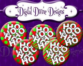 Ho Ho Ho - 1 inch round digital graphics - Instant Download